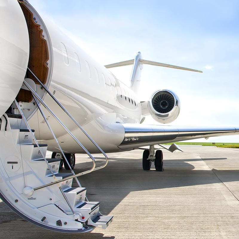 A private airplane with entry ramp exposed